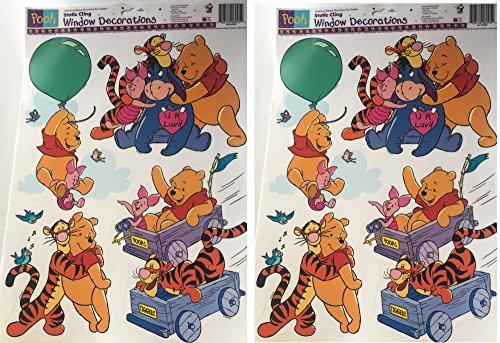 Party Express Winnie The Pooh Static Window Clings Decorations #0954-2 Sheets 8 Big -