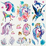 Sakolla Glitter Tattoos Unicorn Temporary Tattoos for Girls Best for Unicorn Party Supplies Party Favors