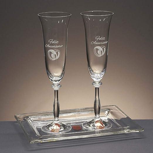 la galaica | Juego de 2 Copas para Champagne o Champán de Cristal + Bandeja de Cristal Centrada | Regalo Ideal para Bodas de Oro, Plata, 25 o 50 Aniversario | Colección Angela: Amazon.es: Hogar