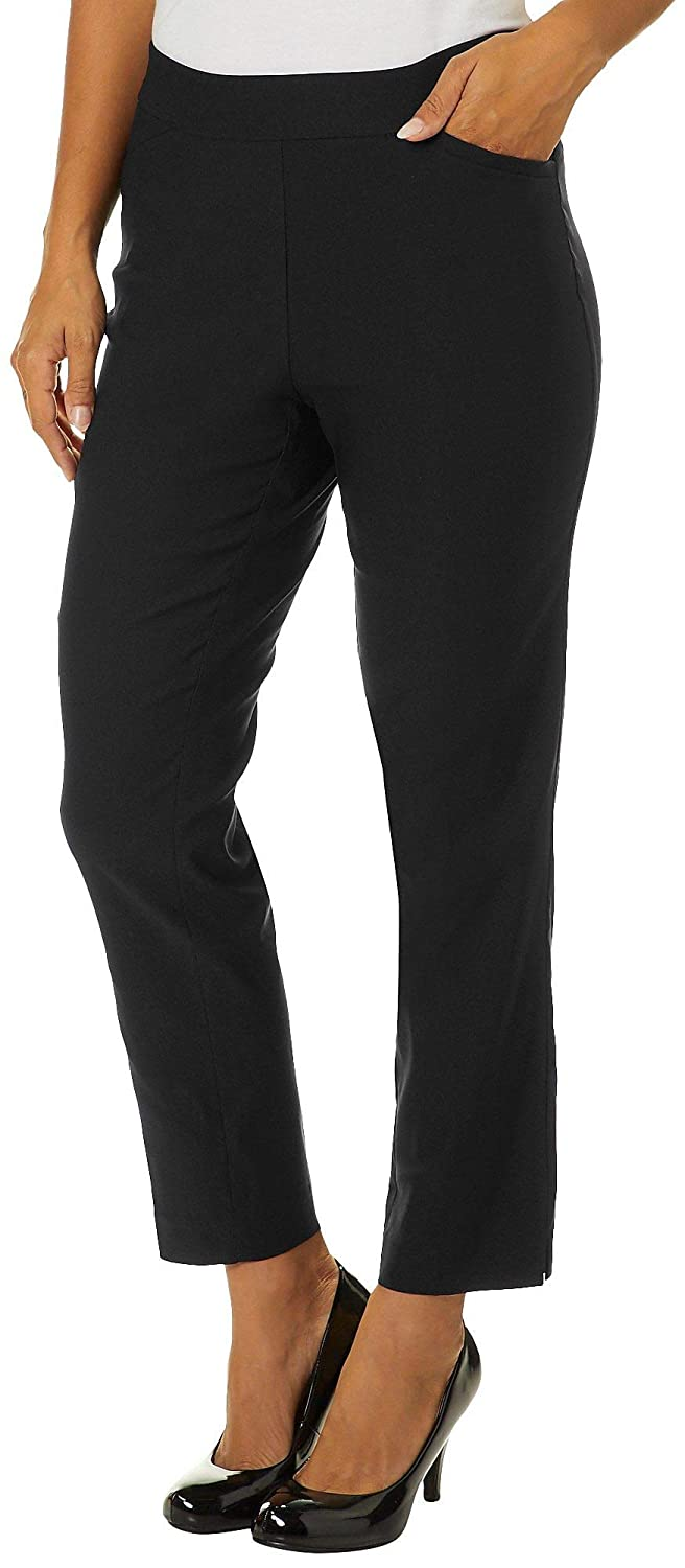 dde77e9fd20 Counterparts Womens Solid Luxe Stretch Pull On Pants 10 Black at Amazon  Women s Clothing store