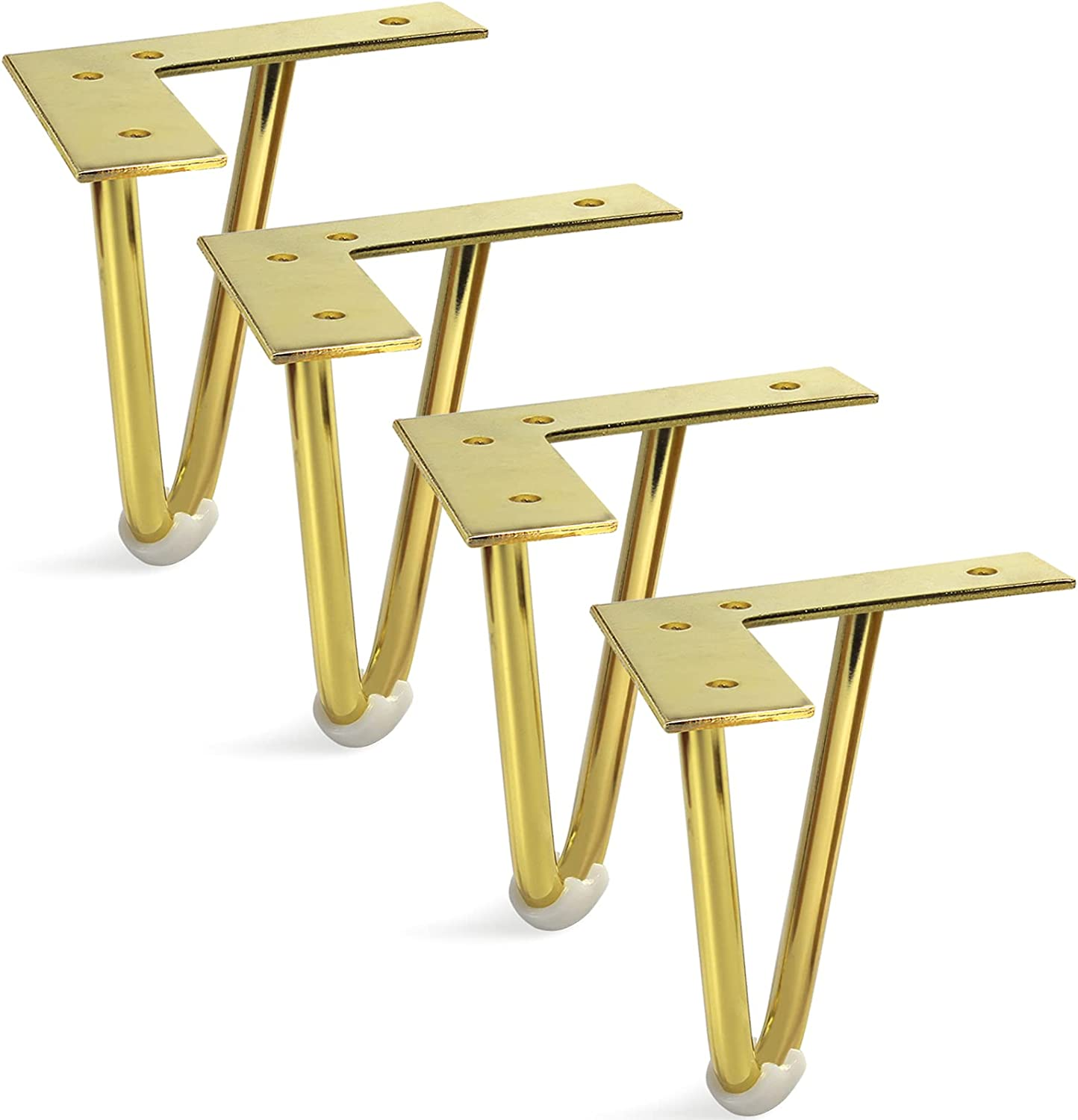 Sopicoz Gold Hairpin Furniture Legs, Heavy Duty Cabinet Legs Metal Home DIY Projects for Dresser, TV Stand (5 inch)