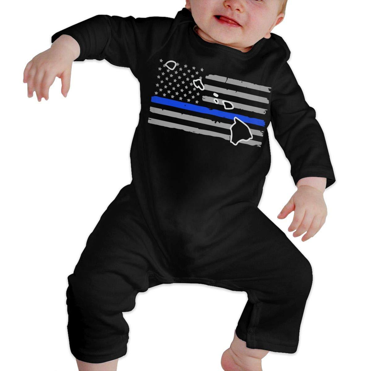 UGFGF-S3 Hawaii Thin Blue Line Flag Newborn Kids Long Sleeve Bodysuit Organic Coverall
