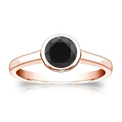 Amazon com: 14k Gold Round cut Black Diamond Bezel Solitaire