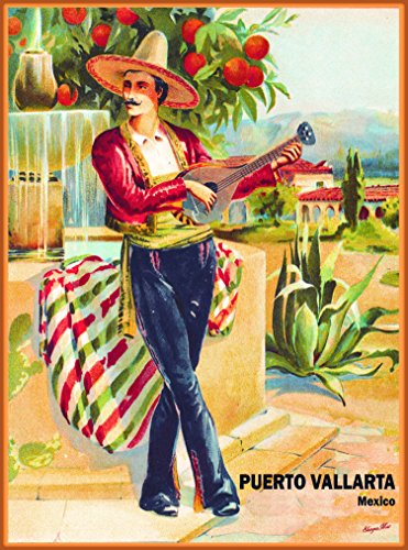 (A SLICE IN TIME Puerto Vallarta Mexico Mexican Man Vintage Travel Home Collectible Wall Decor advertisement Art Poster Print. 10 x 13.5 inches.)