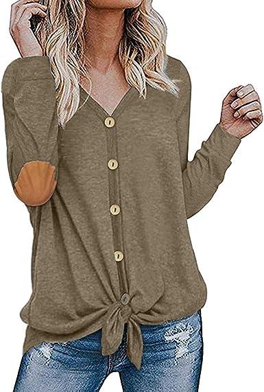 beautyjourney Camisa Casual con Cuello en V para Mujer Camiseta de Manga Larga con Parche en el Codo y Parte Superior con Botones Blusa Túnica de Color Liso: Amazon.es: Ropa y accesorios