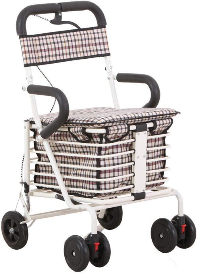 SXRNN Andador de Cuatro Ruedas Carro de la Compra con cestas de Almacenamiento de Asiento Acolchado y cojinetes de Frenos