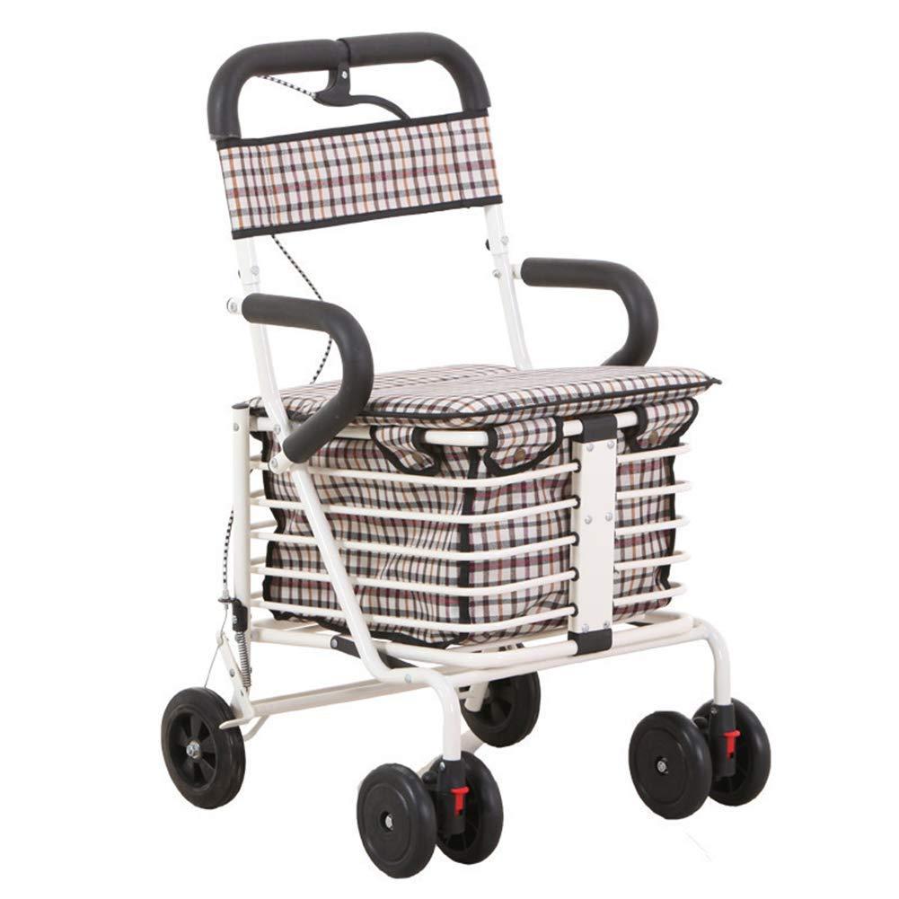 SXRNN Andador de Cuatro Ruedas Carro de la Compra con cestas de ...