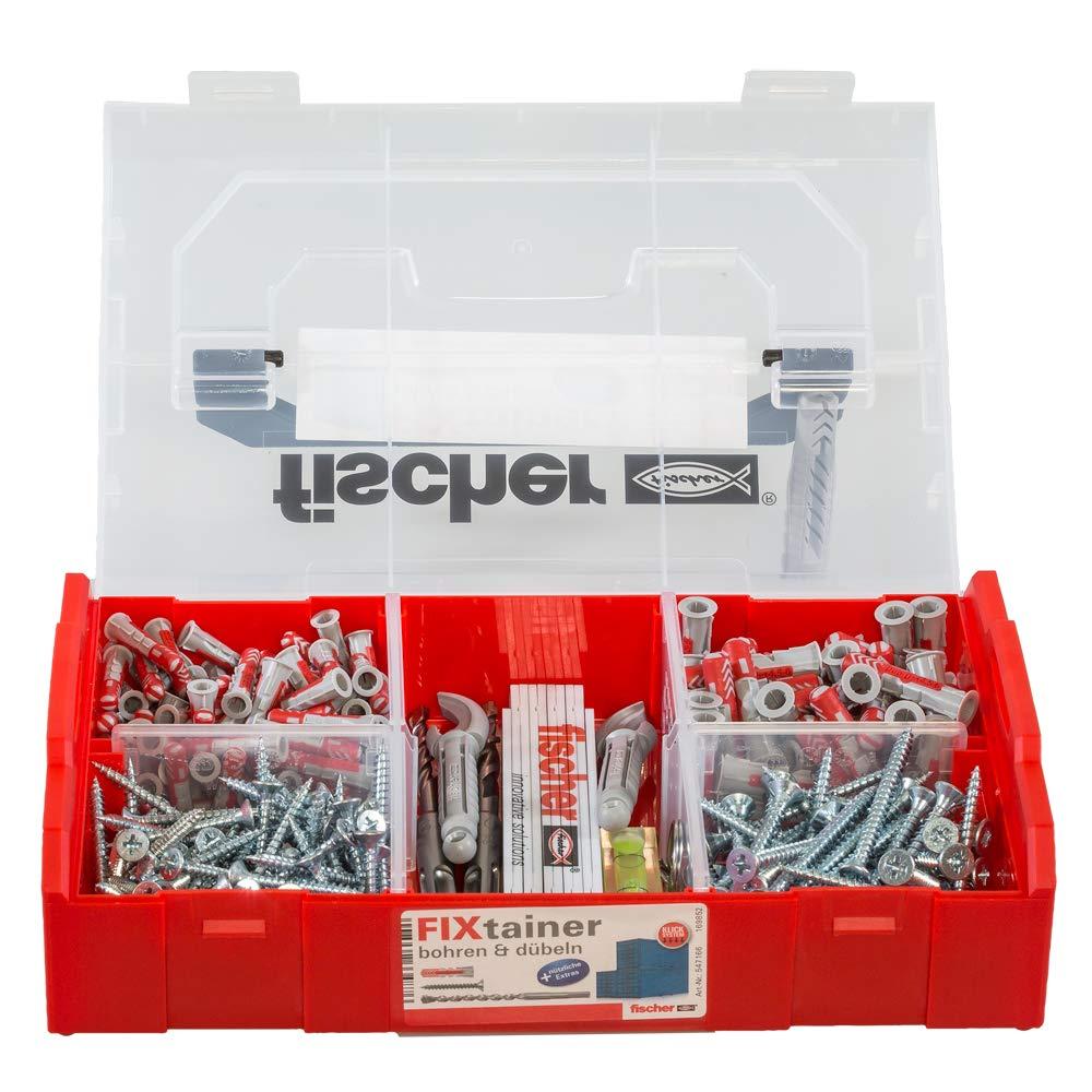 Fischer 547166 FIXtainer 306 pezzi grigio//rosso Punte e tasselli