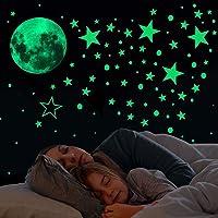 Glow in The Dark Stars and Moon Wall Stickers,433 Stks Lichtgevende Dots Sterren en Volle Maan Muurstickers Decor voor…