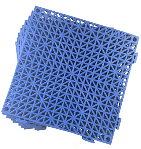 Set of 9 Interlocking Blue Rubber Floor Tiles- 11.5 inches Each Side - Non-Slip Tread - Wet Areas Like Pool Shower Locker-Room Bathroom Deck Patio Garage Boat. Can be Cut to fit- Foghorn Construction