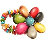 Large Hand-Woven Tagua Flower Stretch Bracelet by Organic Tagua Jewelry