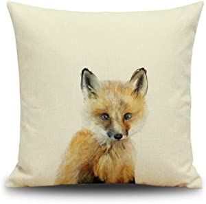 Crazy Cart Cotton Linen Throw Pillow Cover Decorative 18 X 18 Inch Oil Painting Fox Cushion Case Home Pillowcase