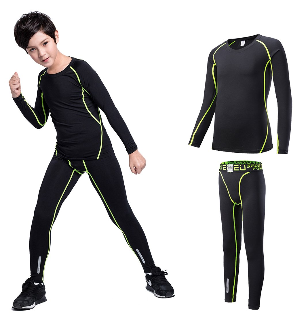 Boy's Thermal Underwear Set Long John Skin Base Layer Tops and Bottom