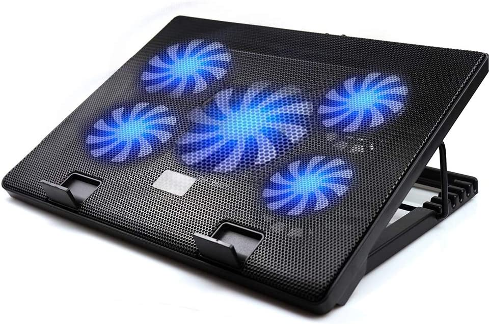 """Laptop Cooling Pad, 12""""-17"""" inch Cooler Pad Chill Mat 5 Quiet Fans,Blue LED Lights,2 USB Ports,4 Adjustable Mounts Laptop Stand Height Angle, Switch Control Fan Speed Function"""