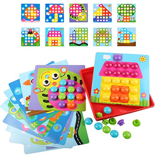 AMOSTING Button Art Color Matching Mosaic Pegboard Early Lea