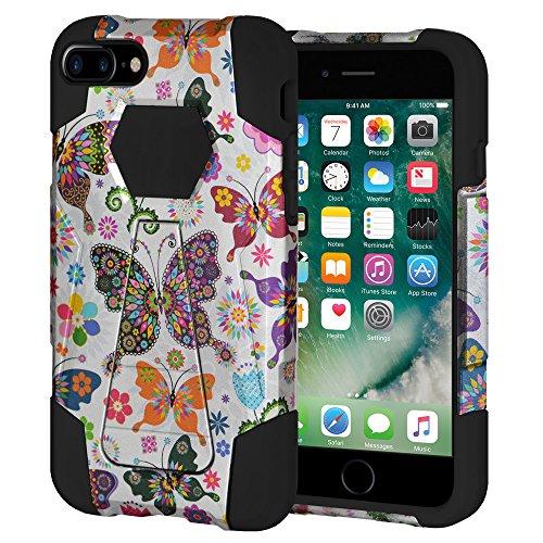 """Amzer Coque hybride double couche """"Floral Fleur Papillon Coloré Polka Dot Étui à rabat avec béquille pour Apple iPhone 7Plus"""