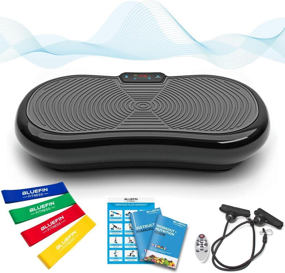 Bluefin Fitness Plataforma Vibratoria Ultra Slim | 5 Programas + 180 Niveles | Altavoces Bluetooth | Fácil de Guardar | Elegante Diseño Británico | Rendimiento de por Vida