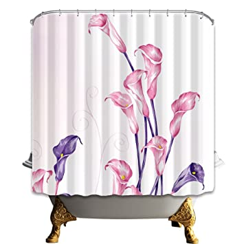 HiSoho Calla Lily 71X71 Inches Mildew Resistant Polyester Fabric Shower Curtain Set Fantastic Decorations Bath