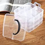 Cacys Store - 18 Grids 3 layers Container Adjustable Jewellery Cosmetic Organiser Bead Makeup Storage Box Plastic Clear Storage Case Organizer