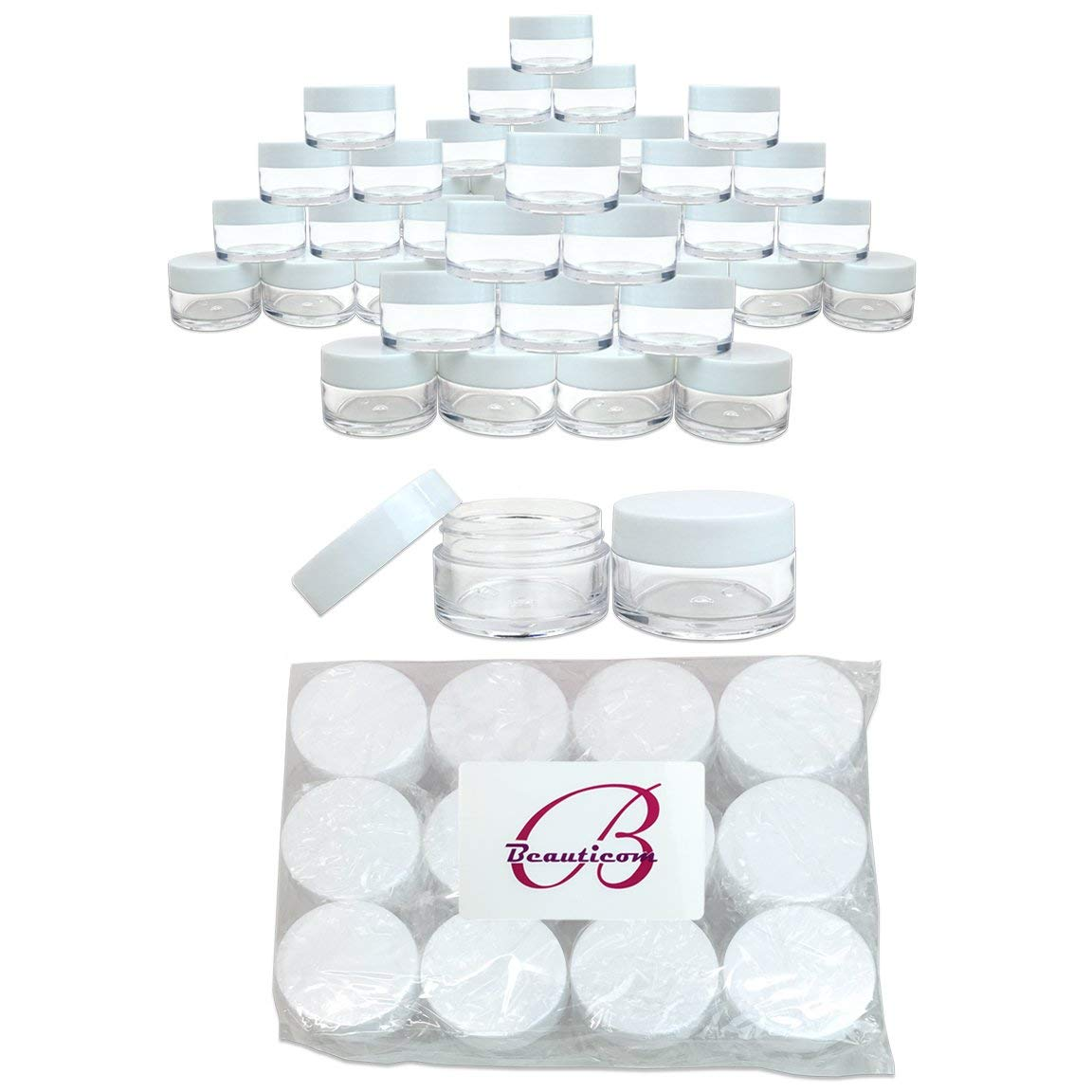 Beauticom 20g/20ml USA Acrylic Round Clear Jars with Lids for Lip Balms, Creams, Make Up, Cosmetics, Samples, Ointments (936 Pieces Jars + Lids, WHITE)