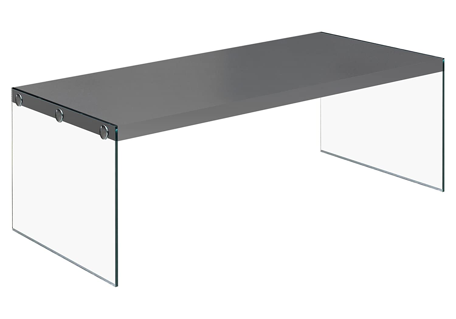 Monarch Specialties I 3292 Glossy Grey Hollow-Core/Tempered Glass Cocktail Table