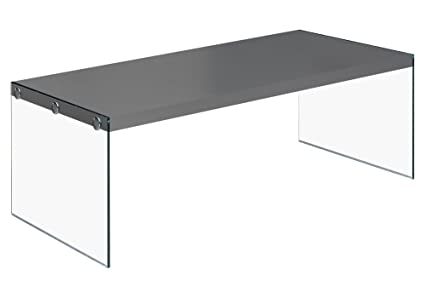 Monarch Specialties I 3292, Coffee Table, Tempered Glass, Glossy Grey ,  44u0026quot;