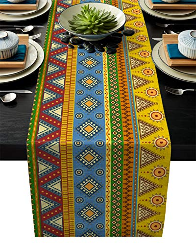 Aztec Cotton Linen Table Runner Rectangle Plate Mat Outdoor Rug Runner for Coffee Dining Banquet Home Decor, Traditional Classic Tribal Folk Motif with Sun Figure Ancient Mexican Culture, 13 x 90 inch