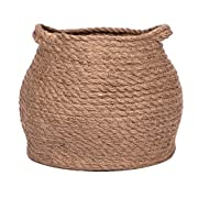 Jolly Jon Large Brown Jute Storage Basket - Natural Plant Panier Belly Baskets - Woven Handles for Laundry or Toys - Magazine Container or Toy Bin - Nursery Organization & Baby Room Baskets