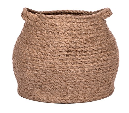 Jolly Jon Large Brown Jute Storage Basket - Natural Plant Panier Belly Baskets - Woven Handles for Laundry or Toys - Magazine Container or Toy Bin - Nursery Organization & Baby Room Baskets ()