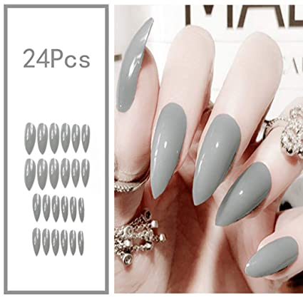 Amazon.com: Sethexy - 24 uñas postizas brillantes de colores ...