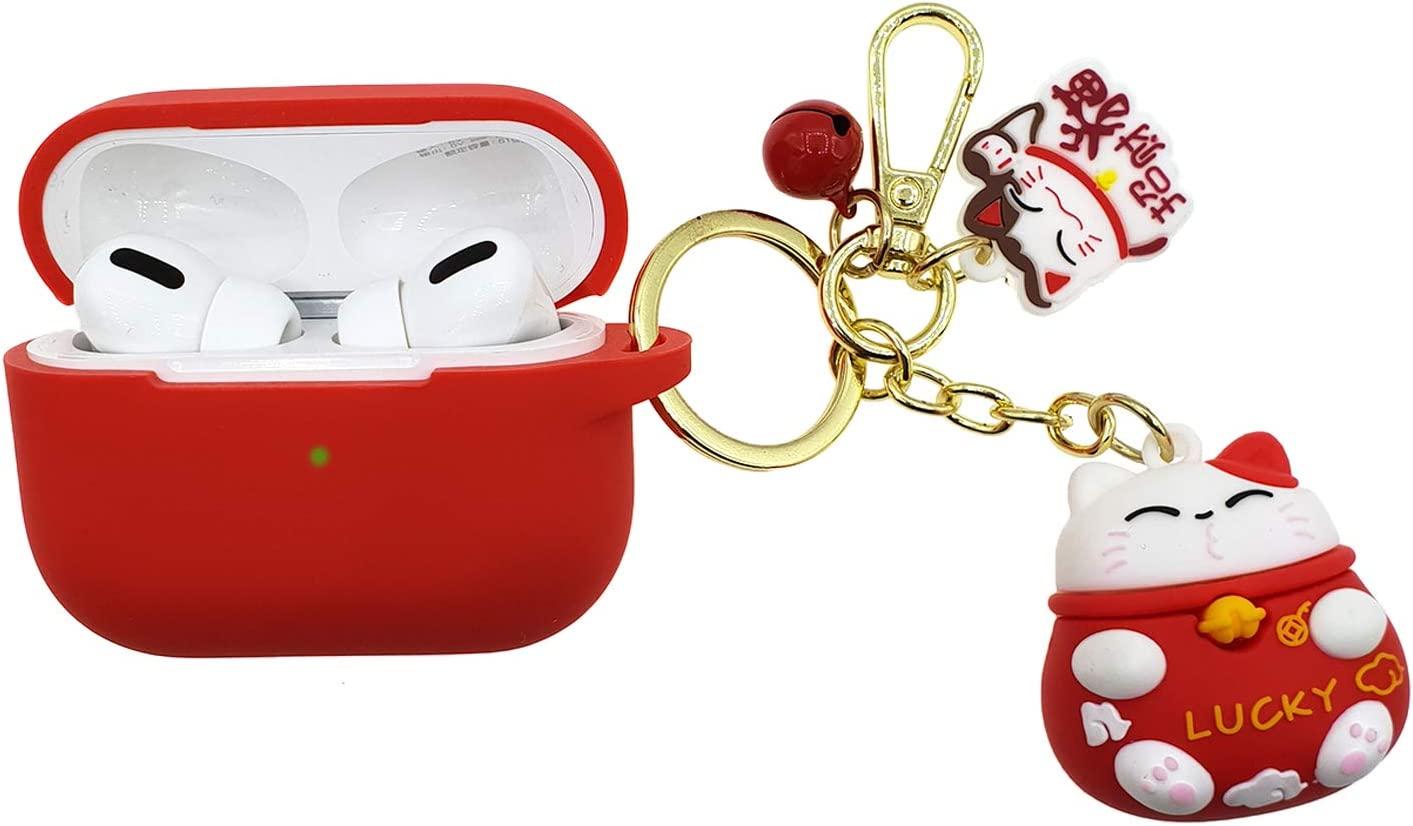 REEYEAR Lucky Charm Airpods Pro Case Soft Thick Protective Case ShockProck with Cute Lucky Cat Anti Lost Keychains Compatible for Apple AirPods Pro Front LED Visible Red