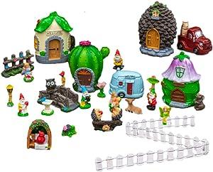Charmed By Unicorns Mini Fairy Garden Accessories Set Terrarium Kit Miniature Houses and Figurines Garden Decor Outdoor Village Scene Craft Kit (Fairy Garden Red Truck Set)