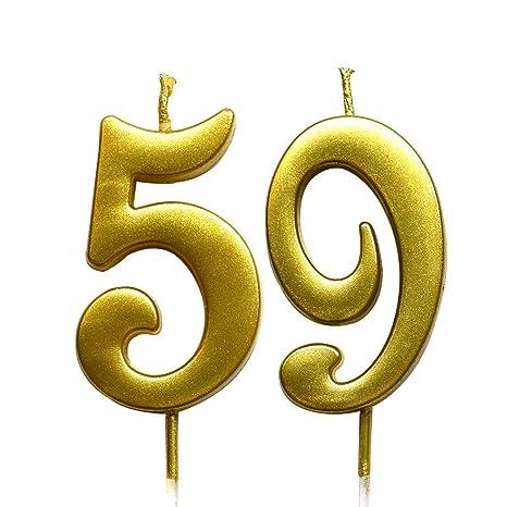 Amazon.com: Magjuche - Vela con número 59 de cumpleaños ...