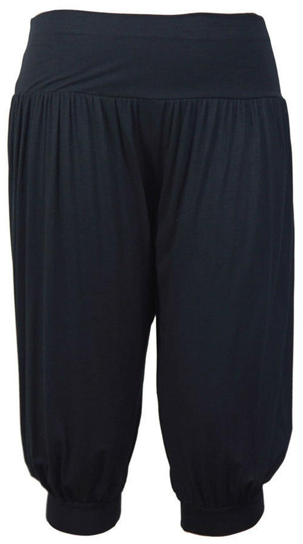 Ladies Women Plain 3/4 Hareem Crop Ali Baba Trouser Pant Leggings Plus Size