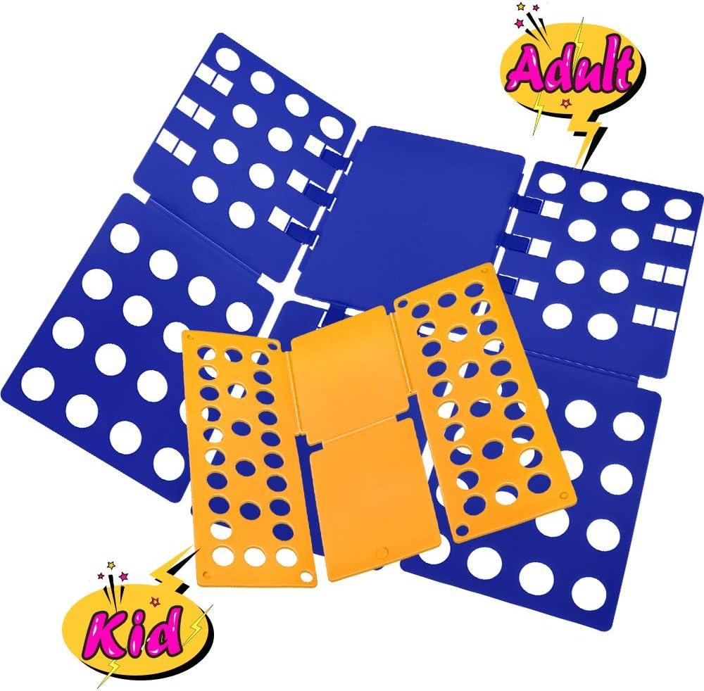 PetOde T-Shirt Folder Shirt Folding Board Clothes Folder Easy and Fast Flipfold for Kids & Adults (Blue & Orange)