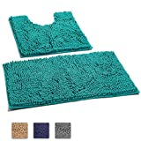 LuxUrux 2 Piece Bath Mat Set –Extra-Soft Plush Chenille Bath Shower Bathroom Rug + U-Shaped Toilet Mat. 1'' Microfiber Material, TPR Surface, Super Absorbent. Machine Wash & Dry (TURQUOISE)