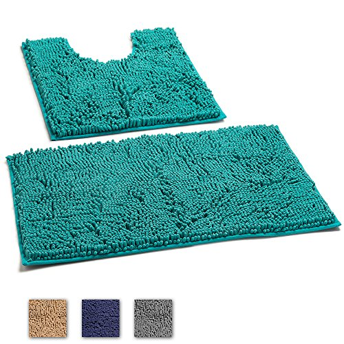 LuxUrux 2 Piece Bath Mat Set –Extra-Soft Plush Non-Slip Bath Shower Bathroom Rug + U-Shaped Toilet Mat. 1'' Microfiber Material., TPR Surface, Super Absorbent. Machine Wash & Dry (TURQUOISE) (Water Rugs Bathroom Absorb That)