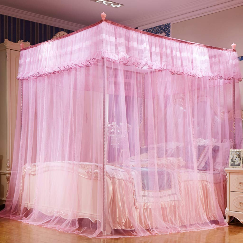 Obokidly 4 Corner Bed Mosquito Netting;Thinken Encryption Anti-mite America Village Bedding Curtains for Baby Girls Kids Bedroom Dectors Drapes Canopies (Pink, King) by Obokidly (Image #2)