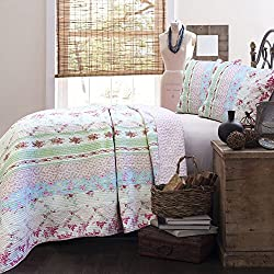 Cozy Line 100% Cotton Lightweight Simply Vintage Cottage Bedding Quilt Set Pink Roses Shabby Chic Floral Patchwork Bedspread, 3 Pieces Full/Queen