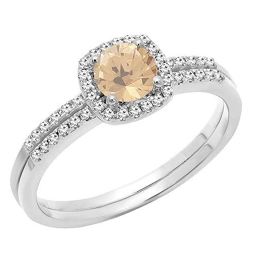 Anillo de compromiso y de boda de oro blanco de 14 quilates de 5 mm con piedras preciosas redondas y diamantes: Amazon.es: Joyería