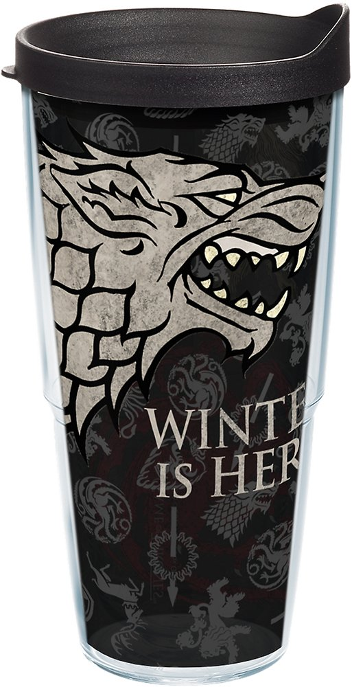 Tervis 1243479 Game of Thrones - House Stark Tumbler with Wrap and Black Lid 24oz, Clear