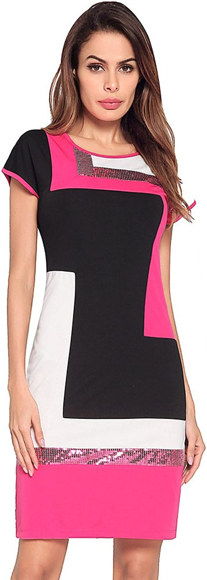 Mod Style Color Block Sequin Dress