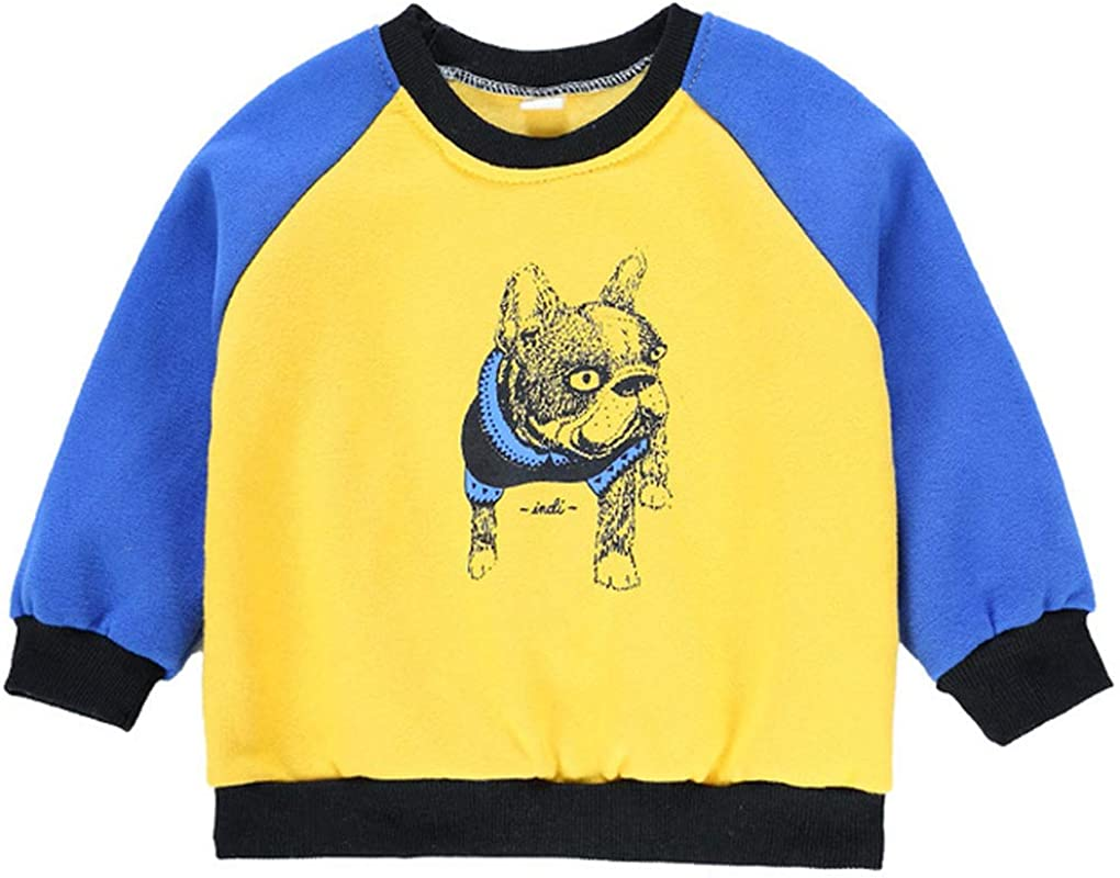 Qinni-shop Boys Kids Bulldog Print Sweatshirt Fashion Crew Neck Pullover Sweater