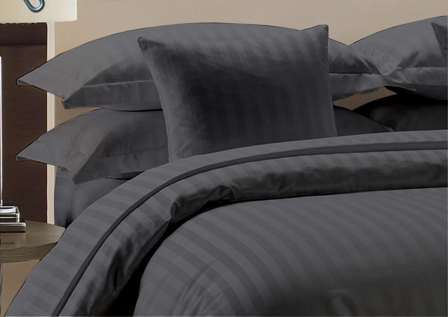 Hotel Quality Heavy 1000TC Zipper Closer 3pc Duvet Cover Set Damask Dark Grey Striped Super king (98 x 108) Egyptian Cotton Expedited Shipping By Precious Star Linen