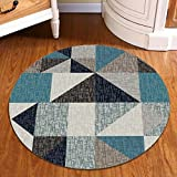 Peacock Blue Nordic Triangle Carpet Round Bedroom Rug Soft Comfortable Wearable Easy Clean ( Size : 120 cm diameter )