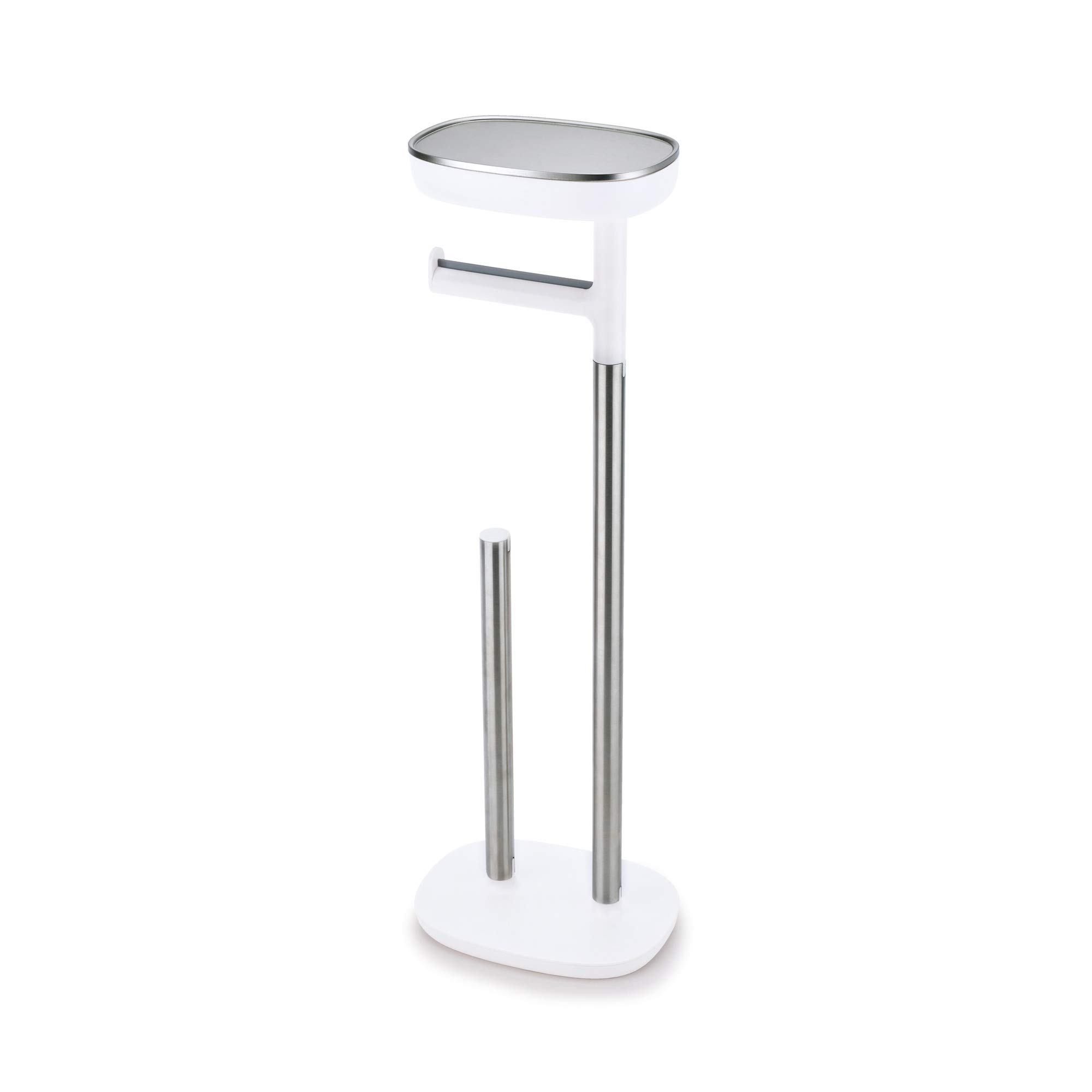 Joseph Joseph 70518 EasyStore Butler Toilet Paper Holder Stand and Spare Roll Storage with Shelf and Drawer, Stainless Steel by Joseph Joseph