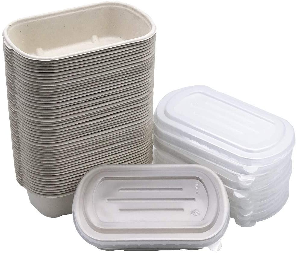 [50 Pack] 24oz Eco-Friendly Bowls with Lids - Recyclable Paper Bowls To Go - Portable Serving Bowl Set to Pack Foods