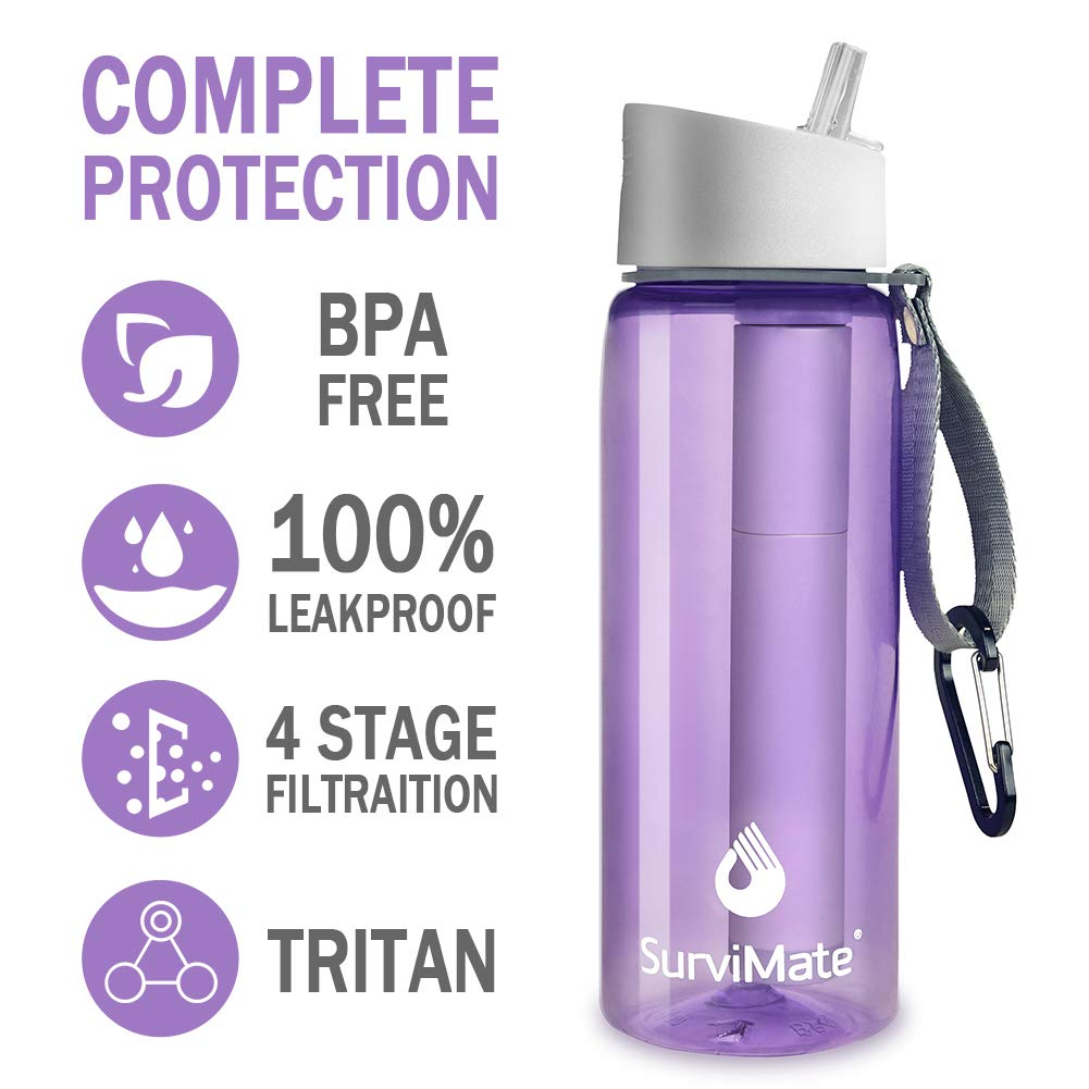 SurviMate Filtered Water Bottle, BPA Free Tumblers with 4-Stage Intergrated Filter Straw for Camping, Hiking, Backpacking and Travel Purple by SurviMate