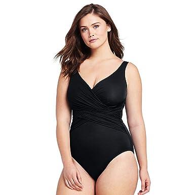 09e8369b5 Lands  End Women s Plus Size Slender Wrap One Piece Swimsuit with Tummy  Control