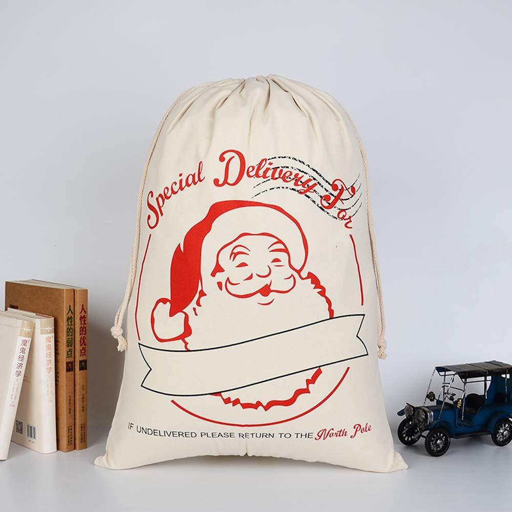 vahome Sacco di Babbo Natale in Tela per Regali di Babbo Natale con Coulisse per Regali di Natale HK-11